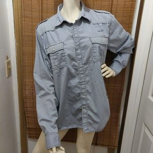 Guess XL men's Gray military style button dos wn